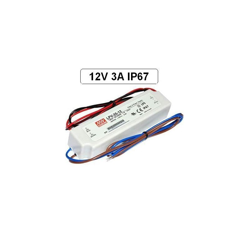Fuente alimentacion 12V DC 3A 36W IP67 Mean Well LPV-35-12 para tiras led