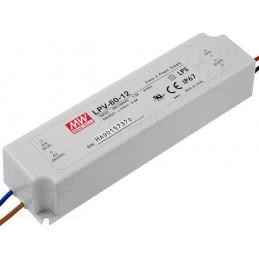 Fuente de alimentacion para tiras led 12V DC 60W 5A IP67 Mean Well LPV-60-12