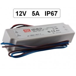 Fuente alimentacion 12V DC 5A 60W IP67 Mean Well LPV-60-12 para tiras led