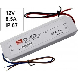 Fuente alimentacion 12V DC 8.5A 102W IP67 Mean Well LPV-100-12 para tiras led