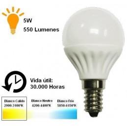 Bombilla led esferica 5w 230v e14 550lm blanco calido 2900-3100k Agfri 6056