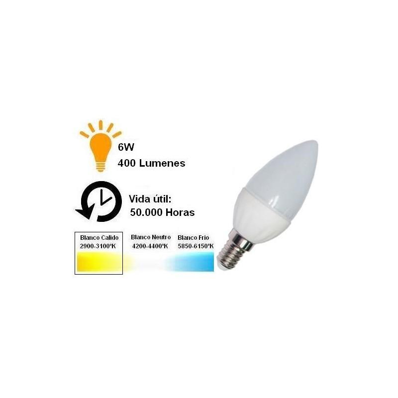 Bombilla led vela 6w 230v e14 400lum luz blanco calido 2900-3100k Agfri 6043