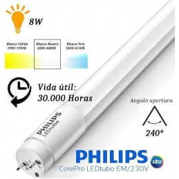 10 Tubos Led 600mm 4000K Blanco Neutro T8 G13 Philips CorePro LEDtube 8W/840