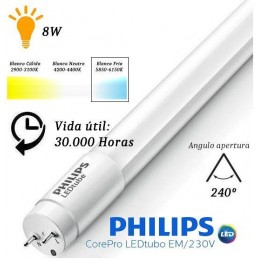 10 Tubos Led 600mm 6500K Blanco Frio T8 G13 Philips CorePro LEDtube 8W/865