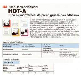 Tubo termorretractil 3M HDT-A 38-12-1000 de pared gruesa 1 Metro