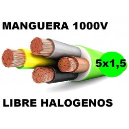 Manguera 1000v 5x1.5mm2 flexible libre halogenos RZ1-K AS 0,6/1KV Al Corte