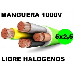Manguera 1000v 5x2.5mm2 flexible libre halogenos RZ1-K AS 0.6/1KV Al Corte