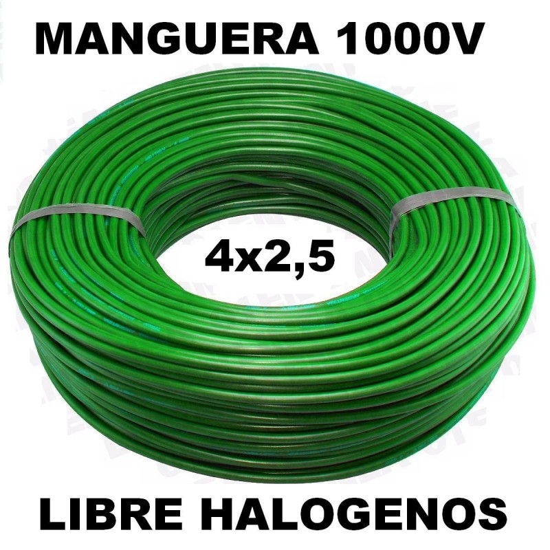 Manguera 1000v 4x2.5mm2 flexible libre halogenos RZ1-K AS 0,6/1KV 100 Metros