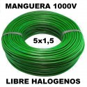 Manguera 1000v 5x1.5mm2 flexible libre halogenos RZ1-K AS 0,6/1KV 100 Metros