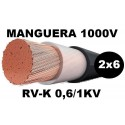 Manguera 1000v 2x6mm2 flexible pvc RV-K 0,6/1KV Al Corte