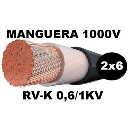 Manguera 1000v 2x6mm2 flexible pvc RV-K 0,6/1KV Al Corte