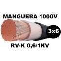 Manguera 1000v 3x6mm2 flexible pvc RV-K 0,6/1KV Al Corte