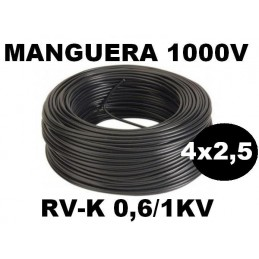 Manguera 1000v 4x2.5mm2 flexible pvc RV-K 0.6/1KV 100 Metros