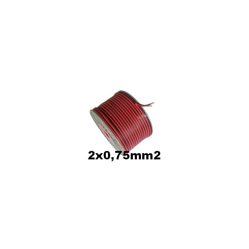 Cable paralelo audio bicolor 2x0.75mm2 rojo/negro 100 Metros