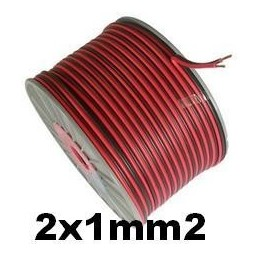 Cable paralelo audio bicolor 2x1mm2 rojo/negro 100 Metros