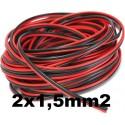 Cable paralelo bicolor 2x1.5mm2 rojo/negro Al Corte