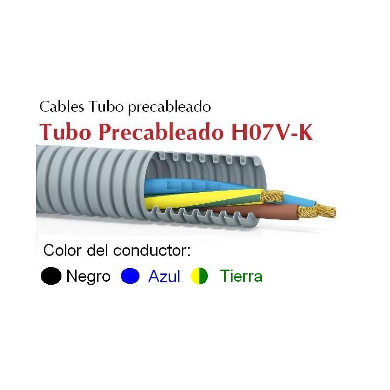 Tubo precableado 20mm + Cable flexible 750v 3x1.5mm2 a+n+t H07V-K Rollo 50 Mts