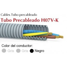 Tubo precableado 20mm + Cable flexible 750v 3x1.5mm2 g+g+n H07V-K Rollo 50 Mts