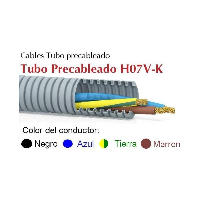 Tubo precableado 20mm + Cable flexible 750v 4x1.5mm2 a+n+t+m H07V-K Rollo 50 Mts