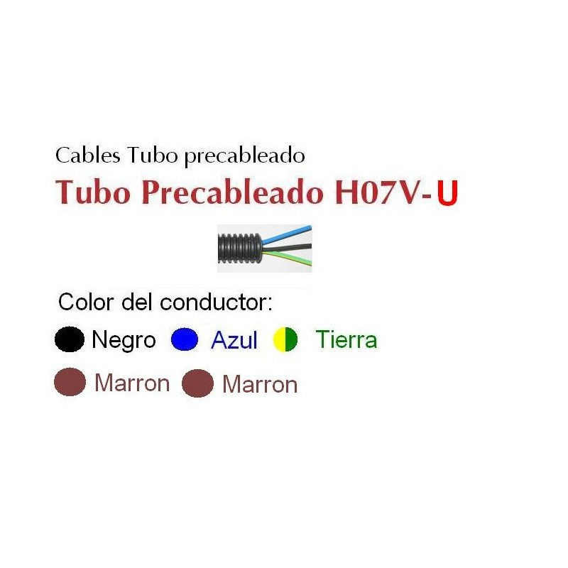 Tubo precableado 20mm + Cable rigido 750v 5x1.5mm2 a+n+t+m+m H07V-U Rollo 50 Mts