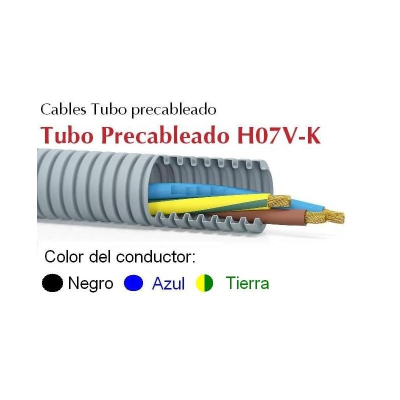 Tubo precableado 25mm + Cable flexible 750v 3x6mm2 a+n+t H07V-K Rollo 50 Mts