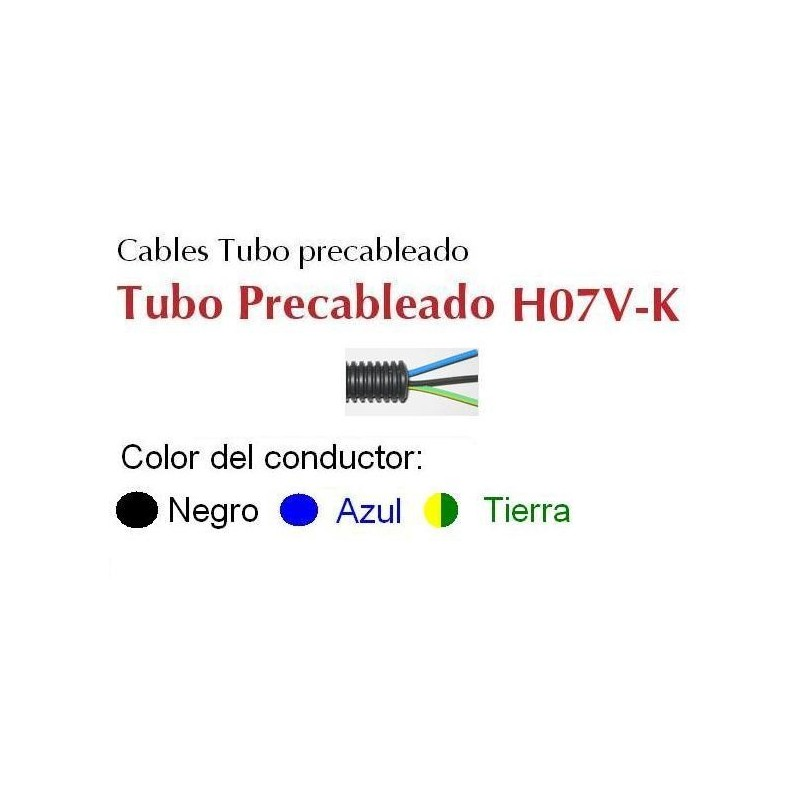 Tubo precableado 20mm + Cable flexible 750v 3x4mm2 a+n+t H07V-K Rollo 50 Mts