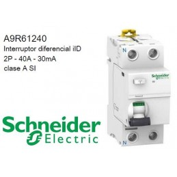 Interruptor Diferencial Superinmunizado 2P 40Amp 30mA A9R61240 Schneider Electric