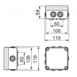 Caja de registro estanca 108x108x64mm
