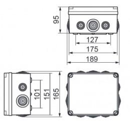 Caja de registro estanca 175x151x95mm