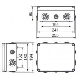 Caja de registro estanca 241x180x95mm