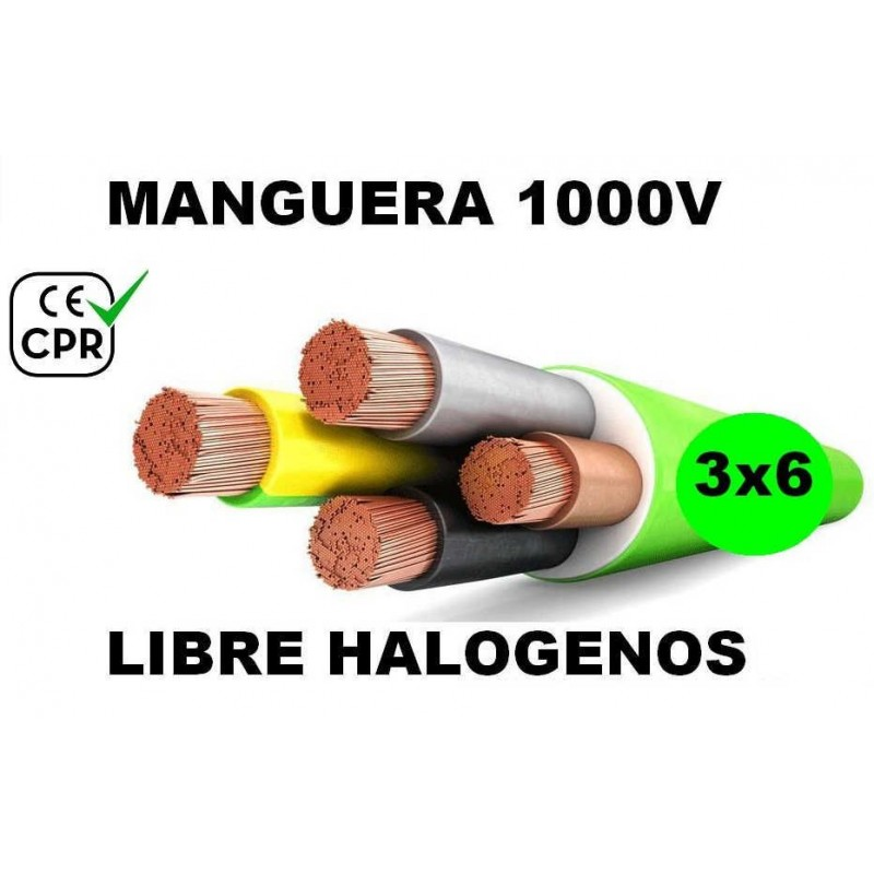 Manguera 1000v 3x6mm2 flexible libre halogenos RZ1-K AS 0.6/1KV CPR Al Corte