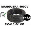 Manguera 1000v 5x1.5mm2 flexible pvc RV-K 0.6/1KV CE CPR 100 Metros