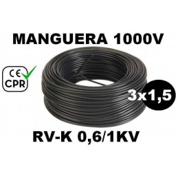 Manguera 1000v 3x1.5mm2 flexible pvc RV-K 0.6/1KV CE CPR 100 Metros