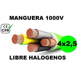 Manguera 1000v 4x2.5mm2 flexible libre halogenos RZ1-K AS 0.6/1KV CE CPR Al Corte