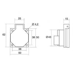Base schuko trascuadro 2P+TT 10/16A 250V gris Ide 101G