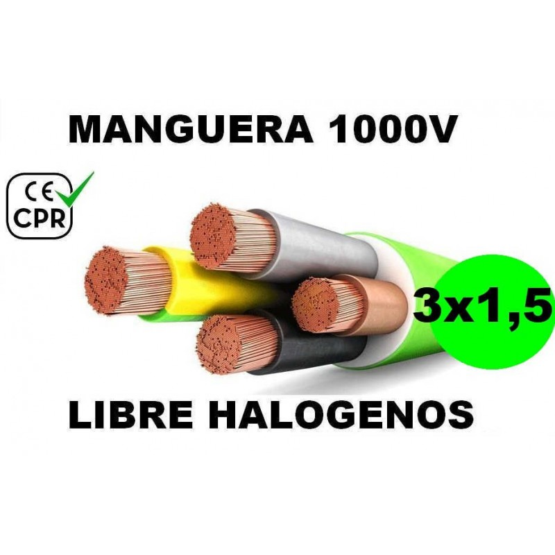 Manguera 1000v 3x1.5mm2 flexible libre halogenos RZ1-K AS 0.6/1KV CE CPR Al Corte