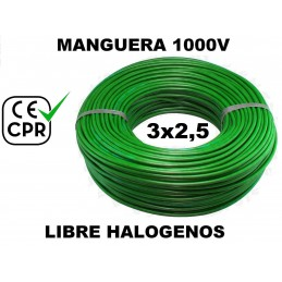 Manguera 1000v 3x2.5mm2 flexible libre halogenos RZ1-K AS 0.6/1KV CE CPR 100 Metros
