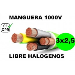 Manguera 1000v 3x2.5mm2 flexible libre halogenos RZ1-K AS 0.6/1KV CE CPR