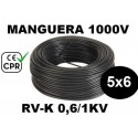 Manguera 1000v 5x6mm2 flexible pvc RV-K 0.6/1KV CE CPR 100 Metros