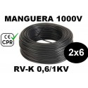 Manguera 1000v 2x6mm2 flexible pvc RV-K 0.6/1KV CE CPR 100 Metros