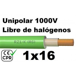 Cable 1000V 1x16mm2 flexible libre halogenos RZ1-K AS 0.6/1KV CE CPR
