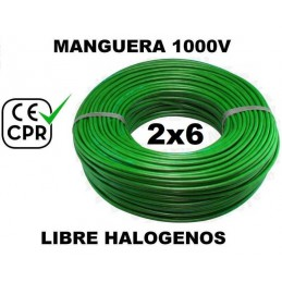 Manguera 1000v 2x6mm2 flexible libre halogenos RZ1-K AS 0.6/1KV CE CPR 100 Metros
