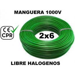 Manguera 1000v 2x6mm2 flexible libre halogenos RZ1-K AS 0.6/1KV CE CPR 100 Metros
