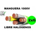 Manguera 1000v 2x6mm2 flexible libre halogenos RZ1-K AS 0.6/1KV CE CPR Al Corte