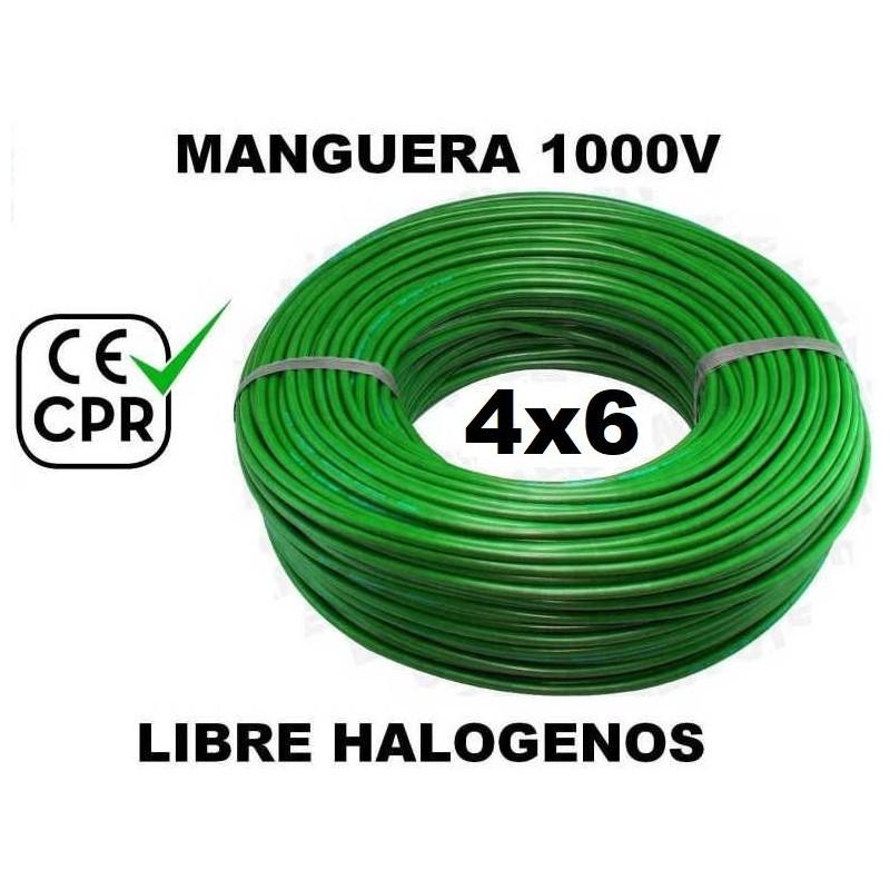 Manguera 1000v 4x6mm2 flexible libre halogenos RZ1-K AS 0.6/1KV CE CPR 100 Metros