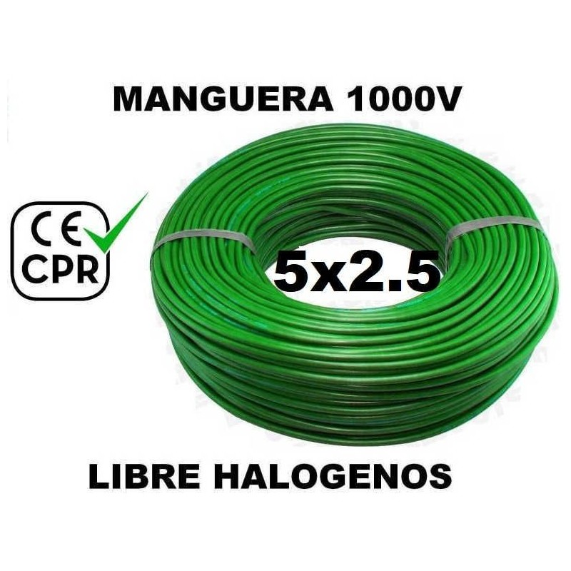 Manguera 1000v 5x2.5mm2 flexible libre halogenos RZ1-K AS 0.6/1KV CE CPR 100 Metros