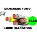 Manguera 1000v 5x2.5mm2 flexible libre halogenos RZ1-K AS 0.6/1KV CE CPR Al Corte