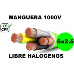 Manguera 1000v 5x2.5mm2 flexible libre halogenos RZ1-K AS 0.6/1KV CE CPR Al Corte