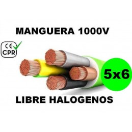 Manguera 1000v 5x6mm2 flexible libre halogenos RZ1-K AS 0.6/1KV CE CPR Al Corte