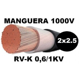 Manguera 1000v 2x2.5mm2 flexible pvc RV-K 0.6/1KV Al Corte